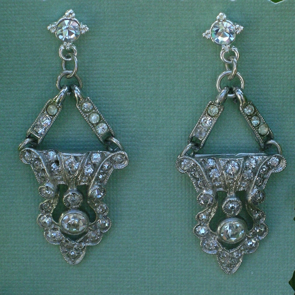 Jewelry, silver, Earrings, Rhinestone, Deco, Belcanto bridal designs