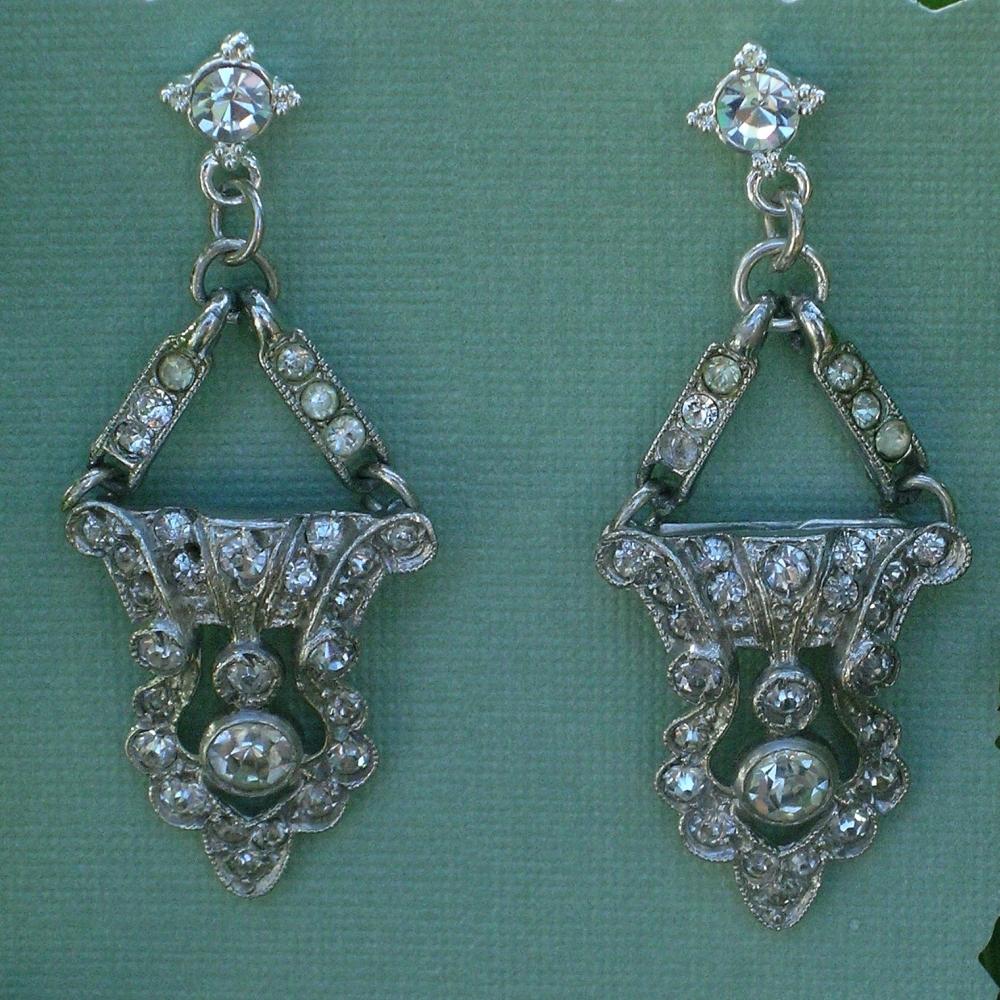 Jewelry, silver, Earrings, Rhinestone, Deco, Belcanto bridal designs