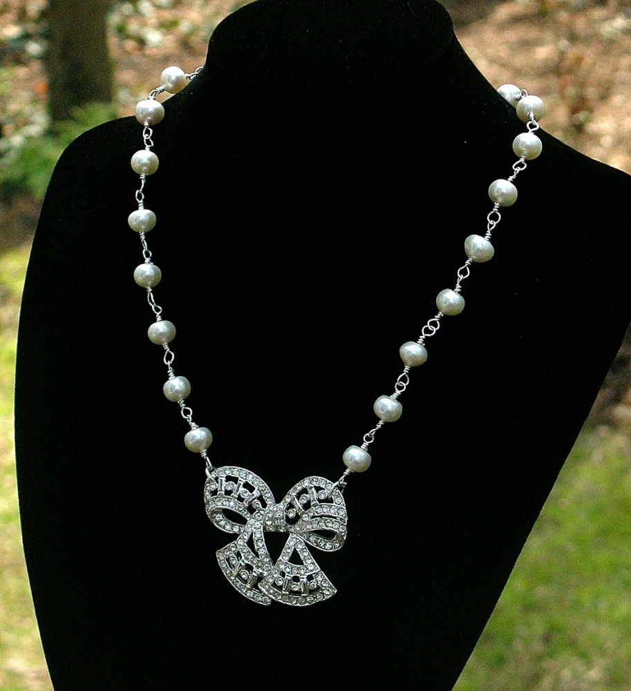 Necklace, Bow, Rhinestone, Pearl, Belcanto bridal designs