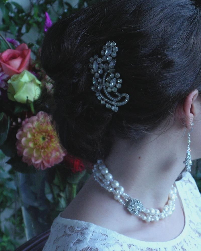Floral, Rhinestone, Haircomb, Belcanto bridal designs, Kramer