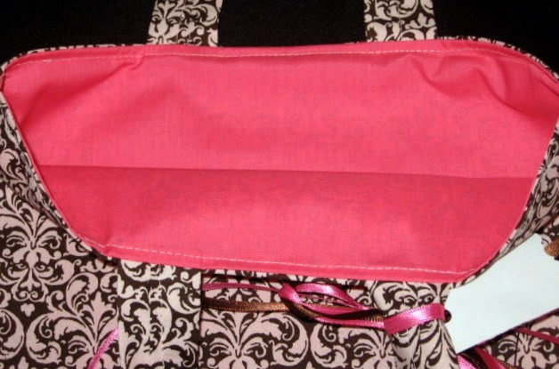 pink, brown, Chocolate, Bm, Damask, Totebag