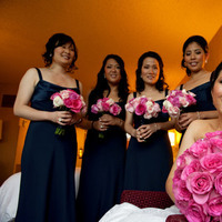 Bridesmaids, Bridesmaids Dresses, Fashion, pink, blue, Bride, Roses