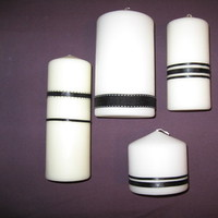 DIY, white, black, Candle, Damask