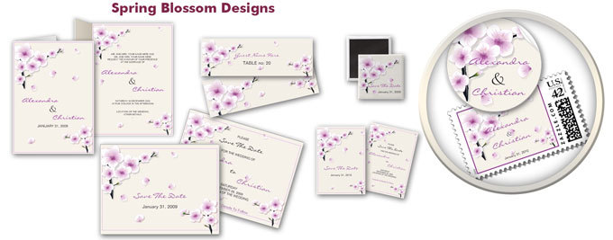 purple, Bridal, Custom, Unique, Spring, Cherry, Flourish, Summer, Blossom, Announcement, Ruxique, Ruxiques little art shop, Sakura, Stationery, Announcements