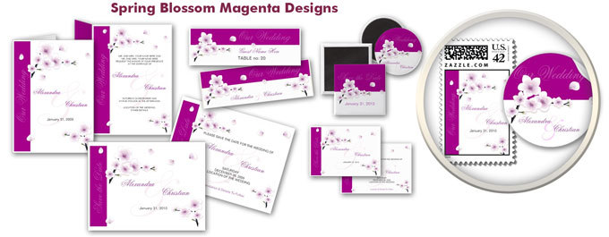 Stationery, purple, Spring, Summer, Announcements, Custom, Bridal, Unique, Blossom, Cherry, Flourish, Announcement, Ruxique, Ruxiques little art shop, Sakura, Magenta