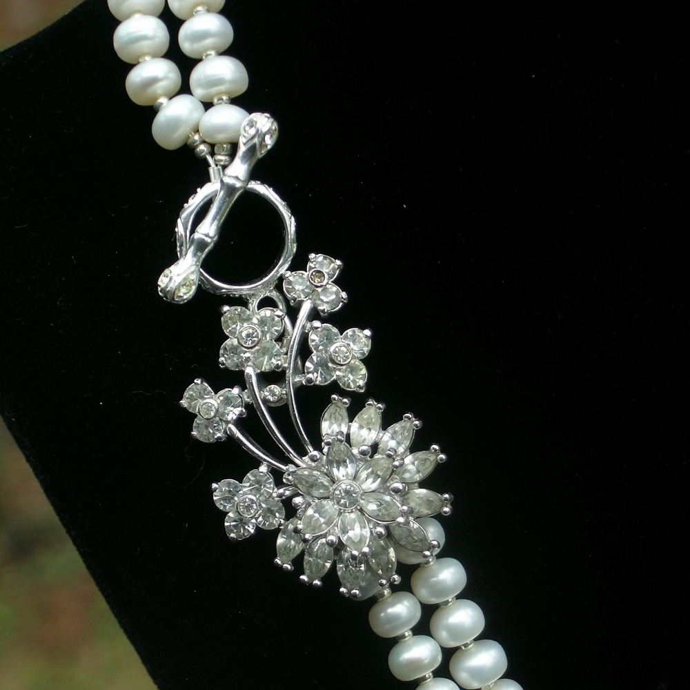 Vintage, Necklace, Rhinestone, Pearl, Belcanto bridal designs