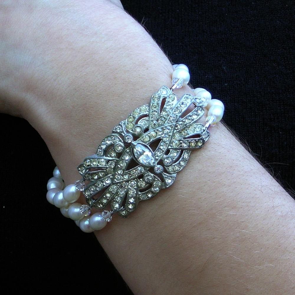 Jewelry, Bracelets, Bracelet, Rhinestone, Pearl, Deco, Belcanto bridal designs