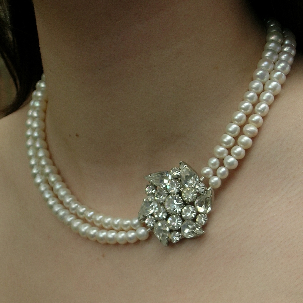 Pearls, Water, Necklace, Rhinestone, Fresh, Weiss, Belcanto bridal designs