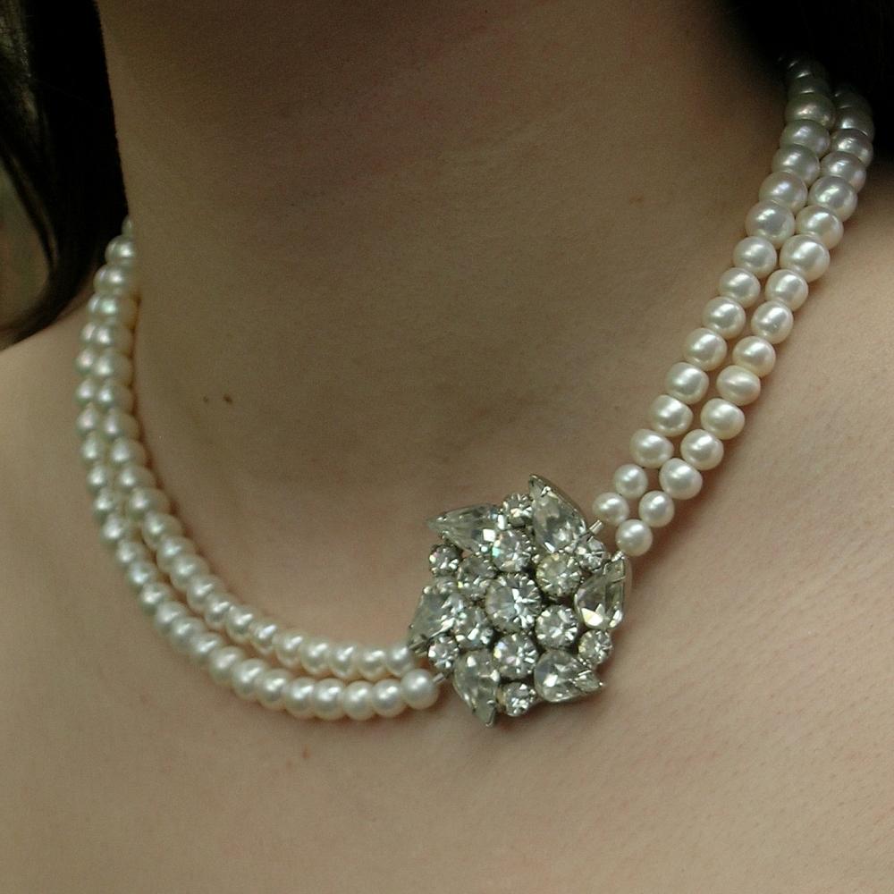 Pearls, Water, Necklace, Rhinestone, Fresh, Weiss, Belcanto bridal designs