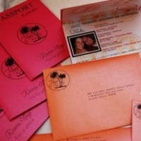 Stationery, Destinations, orange, pink, Invitations, Wedding, Destination, Passport, Ana de roux invitations and design