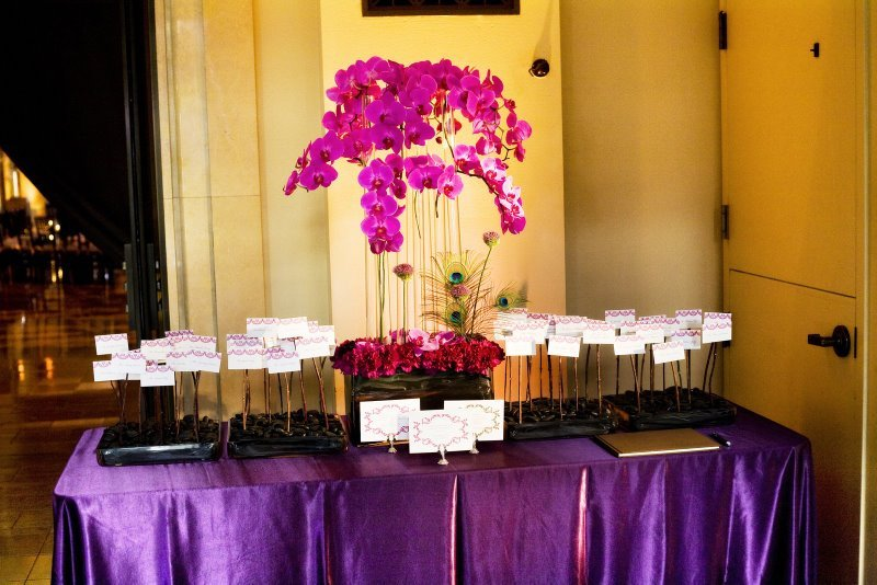 Reception, Flowers & Decor, Decor, Stationery, Escort Cards, City, Wedding, San, Francisco, Plum, Sophisticated