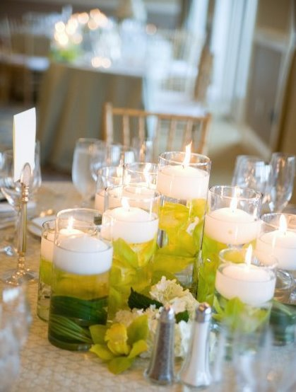 Reception, Flowers & Decor, Decor, white, green, Candles, Wedding, Orchids, Seaside