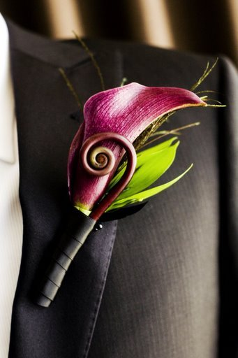 City, Wedding, Boutonniere, San, Francisco, Plum, Sophisticated