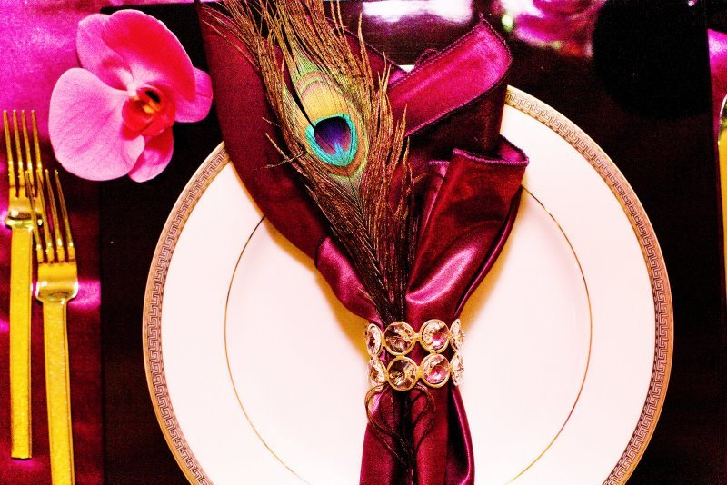 Reception, Flowers & Decor, Decor, City, Wedding, San, Francisco, Plum, Sophisticated, Napkin ring