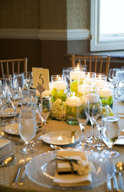 Reception, Flowers & Decor, Decor, white, green, Centerpieces, Candles, Centerpiece, Wedding, Seaside