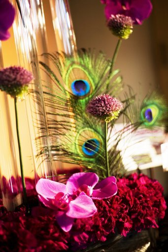 Beauty, Flowers & Decor, Decor, Feathers, Flowers, City, Wedding, San, Francisco, Feather, Plum, Sophisticated