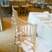Reception, Flowers & Decor, Decor, white, green, Tables & Seating, Wedding, Shells, Chairs, Seaside, Ribbons