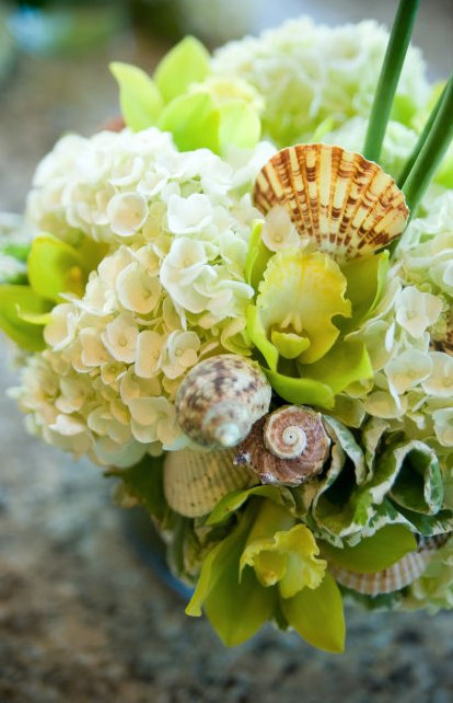 Flowers & Decor, Decor, white, green, Flowers, Wedding, Shells, Seaside, Floral arrangement
