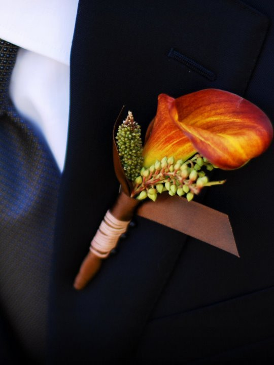 orange, Boutonnieres, Fall Wedding Flowers & Decor, Rustic Wedding Flowers & Decor