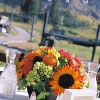 Reception, Flowers & Decor, Decor, Centerpieces, Table Numbers, Flowers, Centerpiece, Wedding, Sunflowers, Lake, Tahoe, Bowl, Sugar