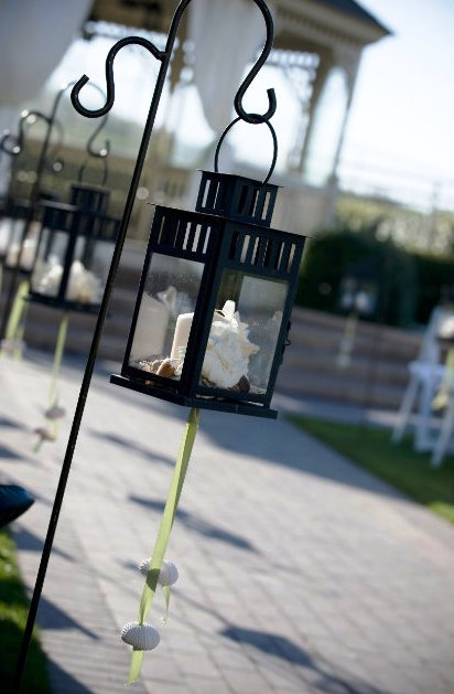 Ceremony, Flowers & Decor, Decor, white, green, Wedding, Lanterns, Seaside, Bay area