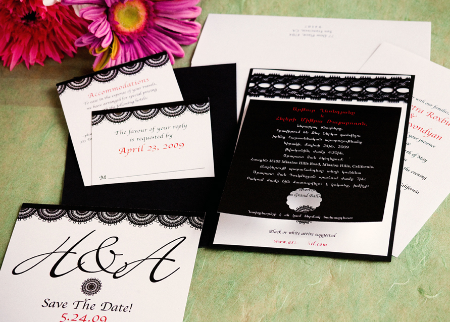 Stationery, white, black, invitation, Invitations, Map, Custom, Lace, Bilingual, Pocket, Papercake designs