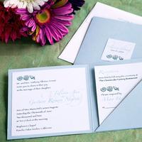 Stationery, blue, invitation, Square, Invitations, Monogram, Custom, Seashells, Folder, Tag