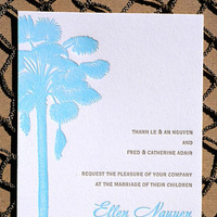 Stationery, Destinations, Invitations, Wedding, Postcard, Destination, Tree, Rsvp, The, Letterpress, Save, Date, Palm, Beaches, Invitations by ajalon