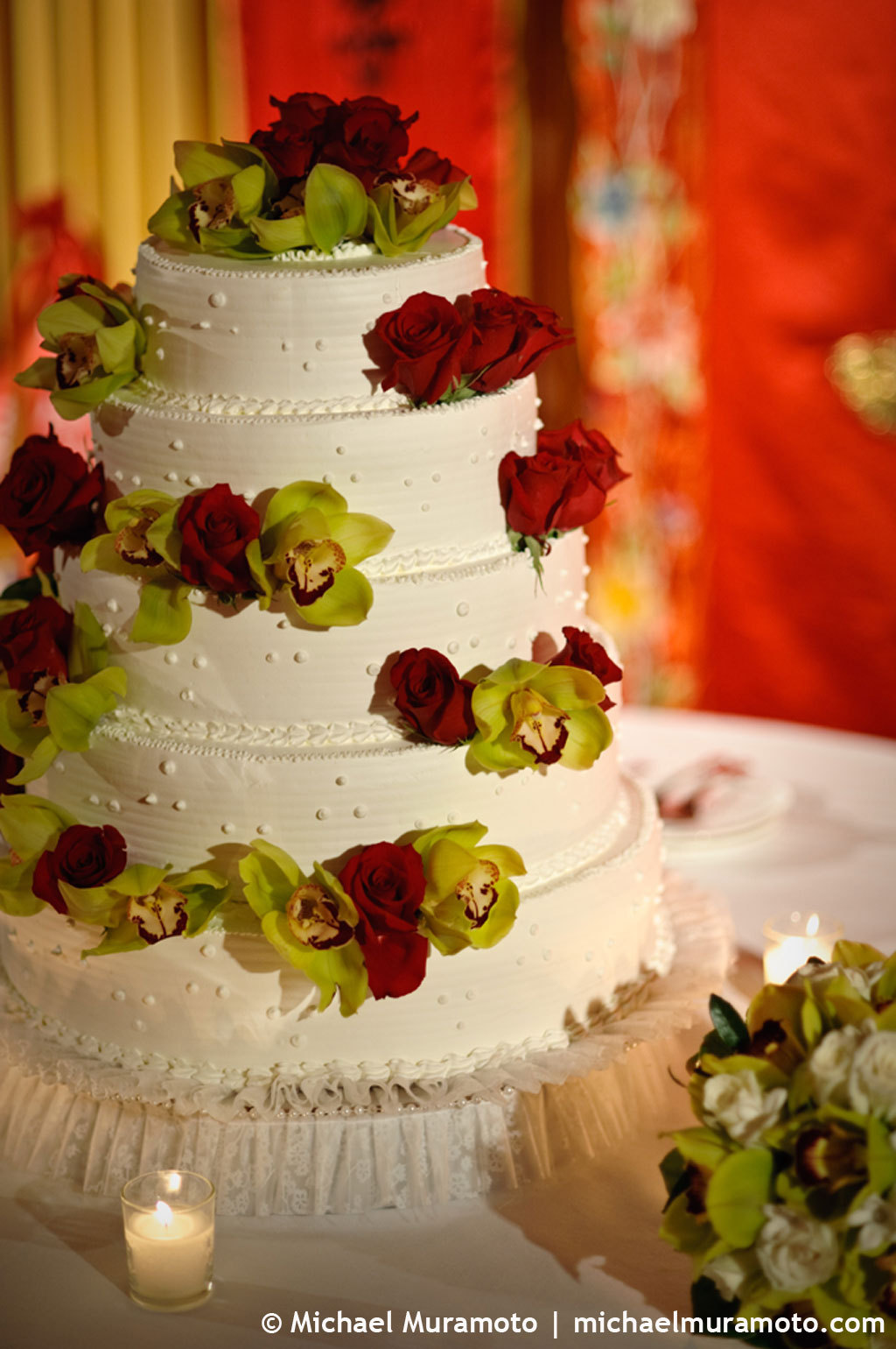 yellow, red, green, Wedding cake, Michael muramoto photography