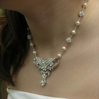 silver, Vintage, Rhinestone, Pearl, Belcanto bridal designs, Trifari