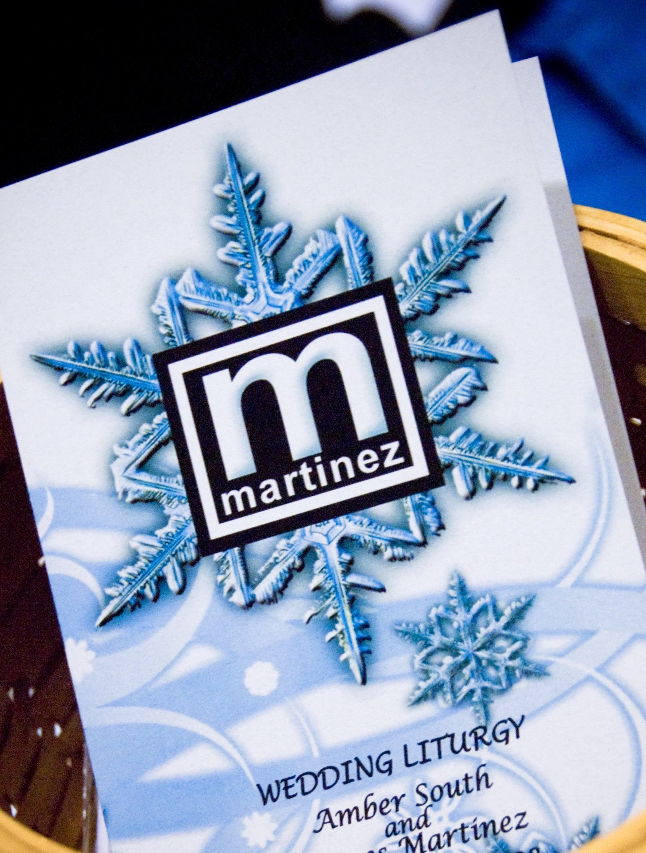 Ceremony, Flowers & Decor, white, blue, black, silver, Winter, Wedding, Custom, Program, Teal, Ice, Logo, Aqua, Wonderland