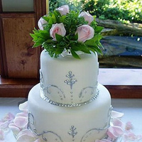 Flowers & Decor, white, pink, silver, Flowers, Roses, Wedding cake, Pink roses