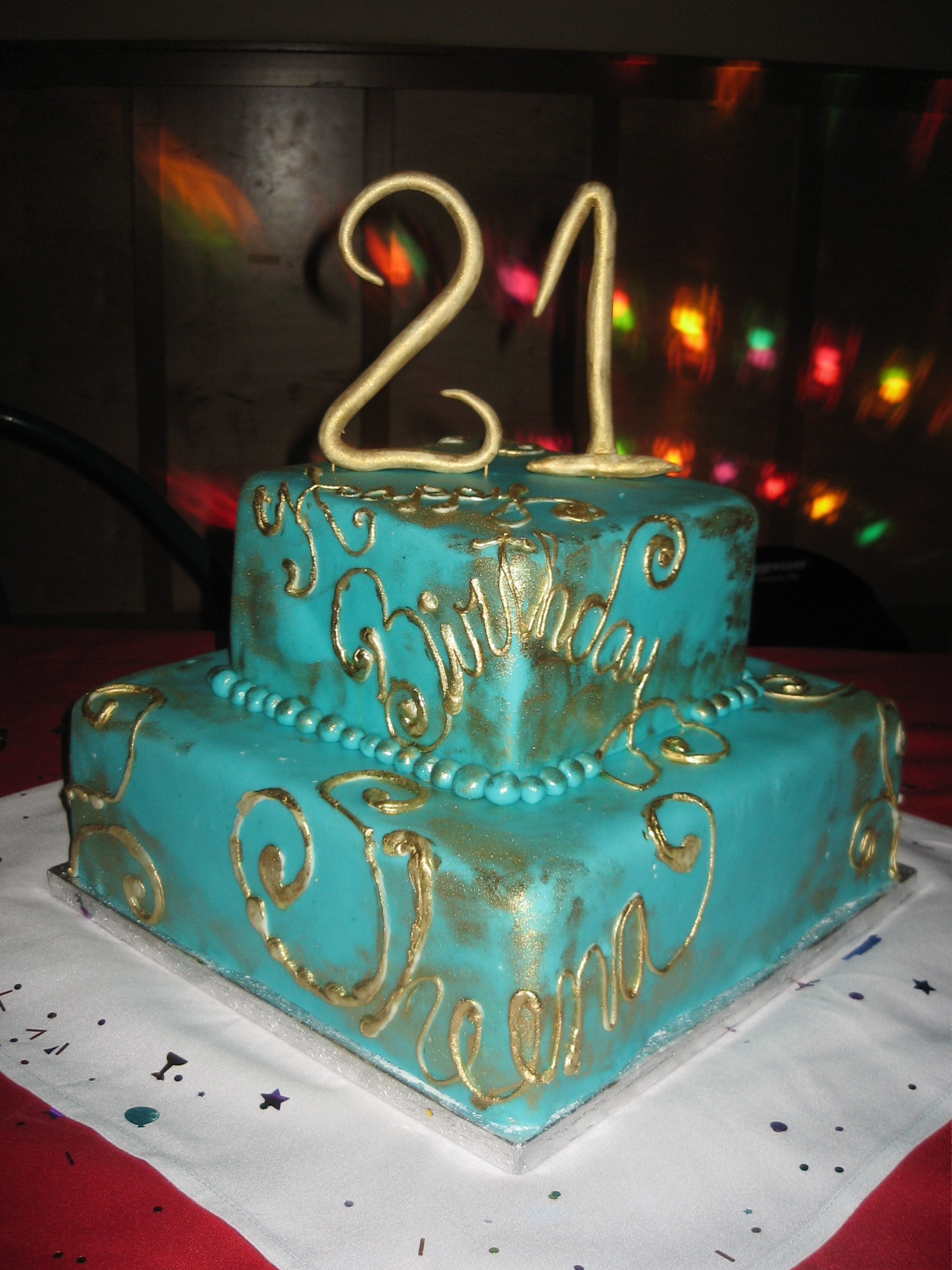 Cakes, gold, cake, Teal, 2-tiered