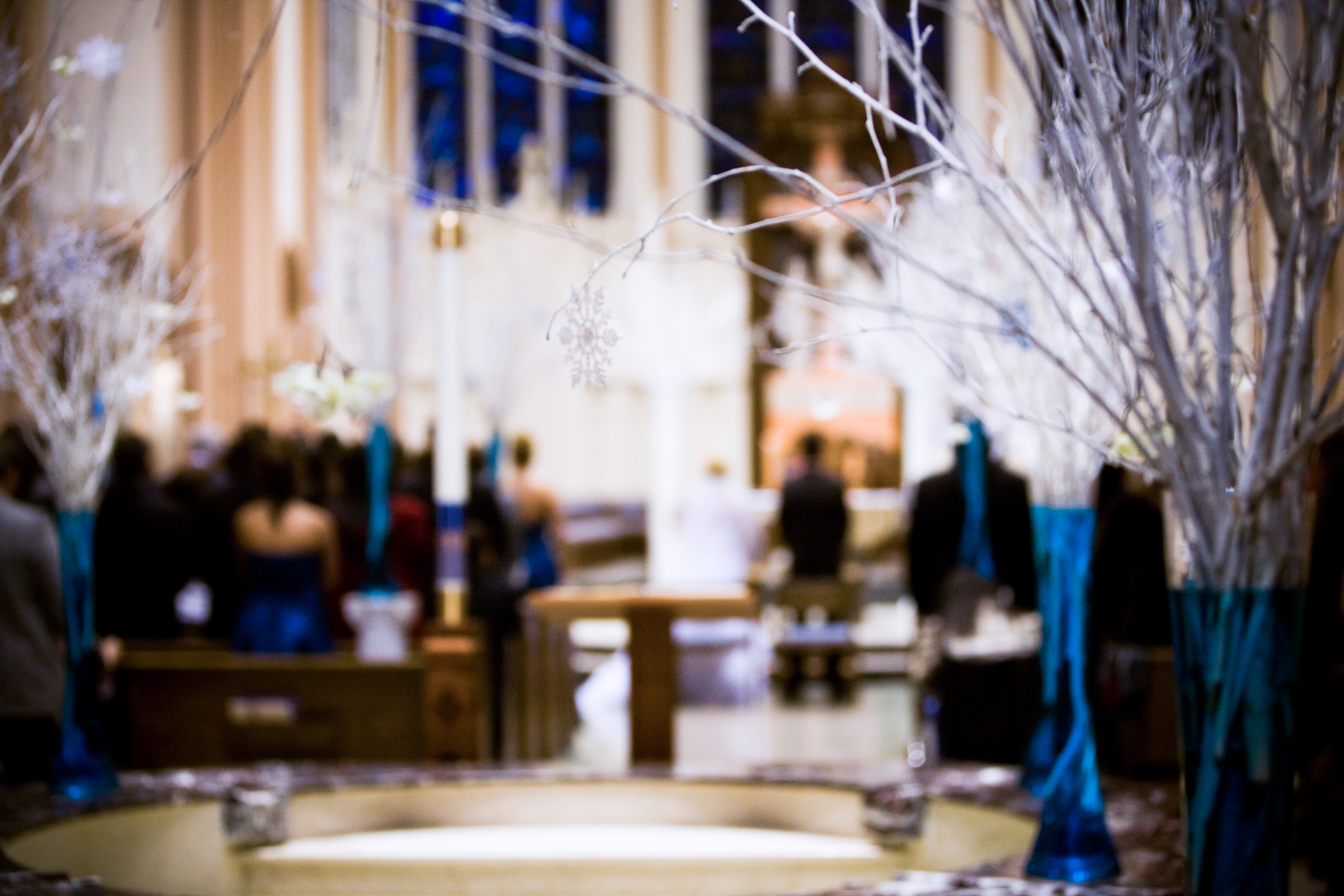 Ceremony, Flowers & Decor, blue, silver, Winter, Wedding, Branches, Teal, Ice, Aisle, llc, Turquoise, Wonderland, Virtuous events