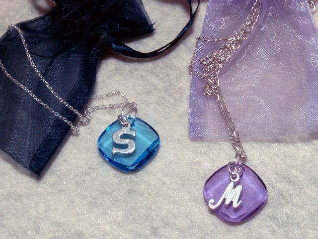 Bridesmaid, Crystal, Necklace, Initial, Three brides designs