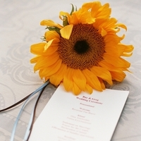 Flowers & Decor, Stationery, yellow, blue, Invitations, Flowers, Wedding, Program, Ranch