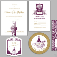 Flowers & Decor, Stationery, invitation, Vintage, Vineyard, Vineyard Wedding Invitations, Vintage Wedding Invitations, Invitations, Damask, Mujka design inc