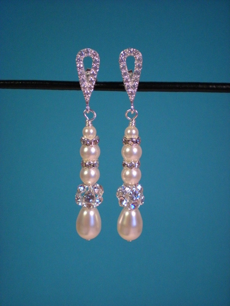 Jewelry, ivory, silver, Earrings, Crystal, Cream, Swarovski, Teardrop, Rhinestone, Pearl, Dana saylor designs, Cz