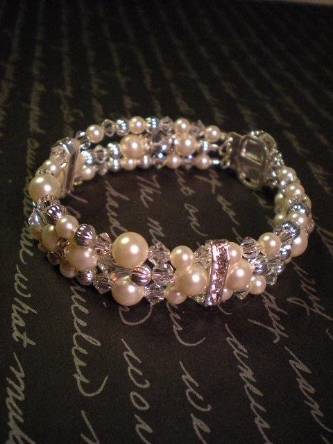 Jewelry, ivory, silver, Bracelets, Crystal, Cream, Bracelet, Swarovski, Bead, Rhinestone, Pearl, Three, Dana saylor designs, Clear, Strand