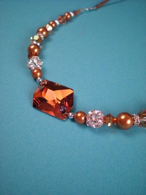 Crystal, Necklace, Swarovski, Rhinestone, Pearl, Copper, Dana saylor designs, Beads, Fireball, Cosmic