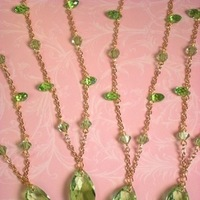 green, gold, Lime, Bridesmaid, Crystal, Necklace, Swarovski, Teardrop, Dana saylor designs, Briolette, Chain, Peridot