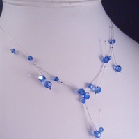 silver, Bridesmaid, Branch, Crystal, Necklace, Swarovski, Floating, Sapphire, Dana saylor designs, Illusion