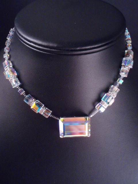 Square, Crystal, Necklace, Swarovski, Dana saylor designs, Cube, Ab, Rectangle, Clasp, Magnetic