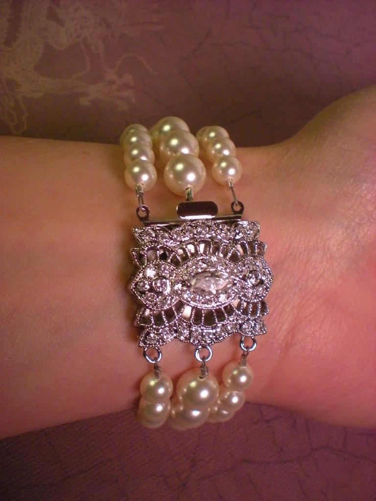 silver, Crystal, Swarovski, 3, Bead, Rhinestone, Pearl, Dana saylor designs, Cz, Strand, Clasp