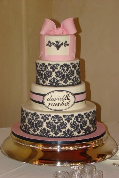 ivory, pink, black, Wedding cake, Sweet cakes by rebecca