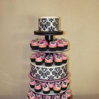 Cakes, white, pink, black, Cupcakes, Sweet, By, Damask, Rebecca, Sweet cakes by rebecca