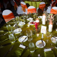 orange, green, Centerpiece, Menu, Table, Chair, Linens, Covers, Setting, Give my regards to