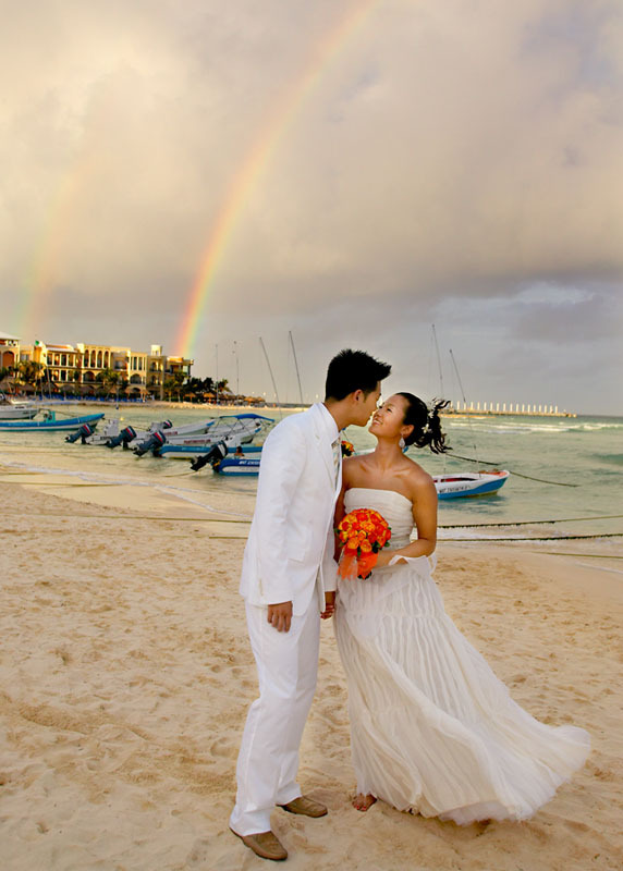 Destinations, Mexico, Beach, Bride, Groom, Kiss, And, Destination, The, Formal, Robert london photography