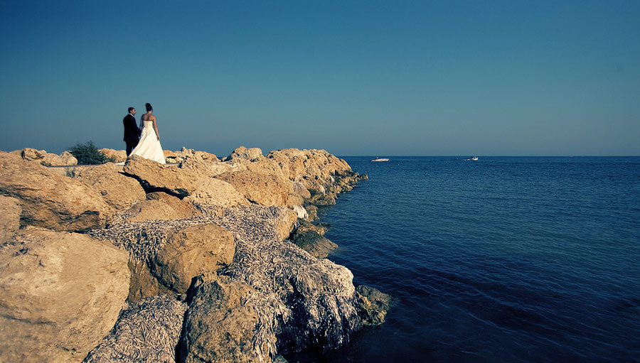 Destinations, Beach, Bride, Groom, Wedding, And, Destination, In, Cyprus