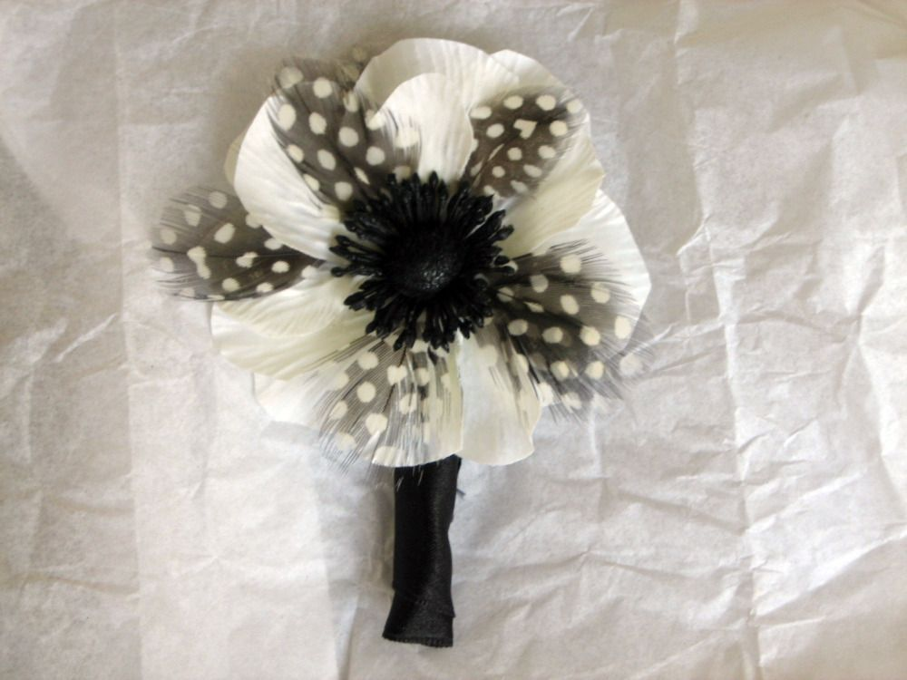 Beauty, white, black, Feathers, And, Boutonniere, Design whimsy